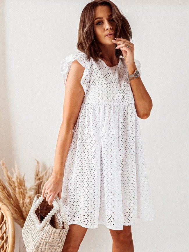White openwork dress with a frill on the sleeve