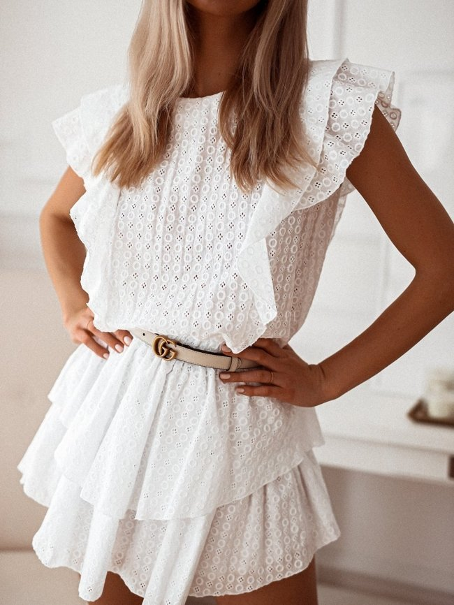 White openwork dress with elastic waist
