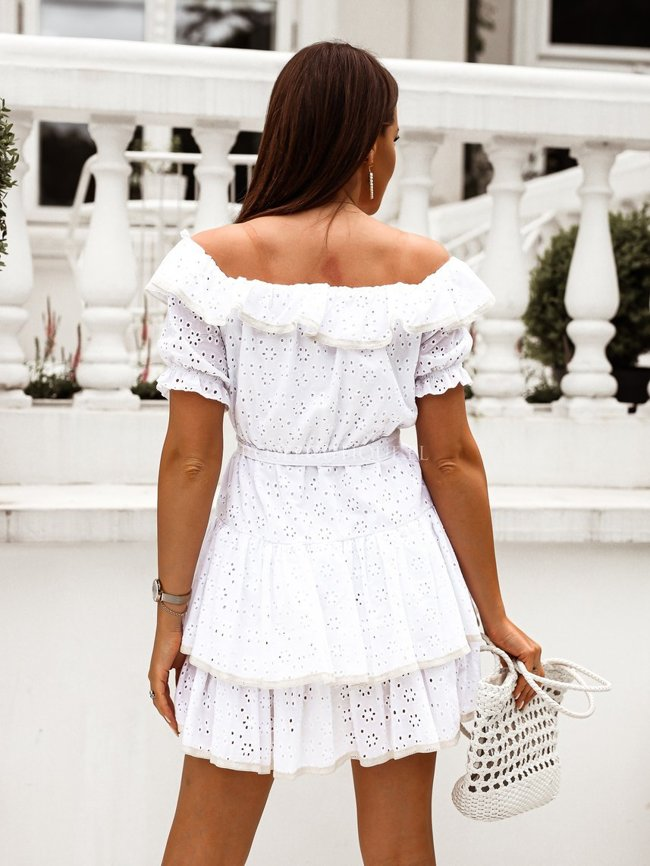 White openwork dress with puffy sleeves