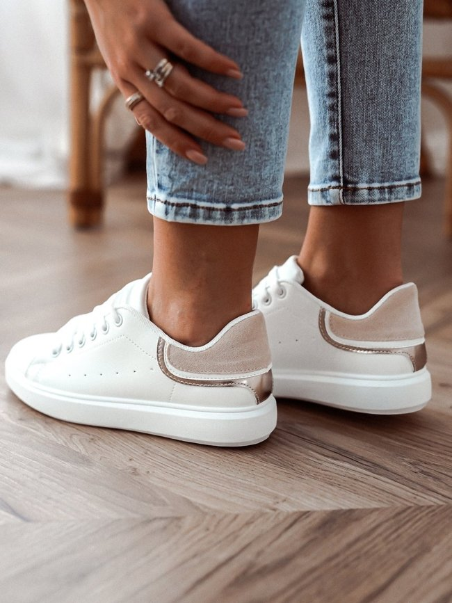 White sneakers with beige-gold decoration