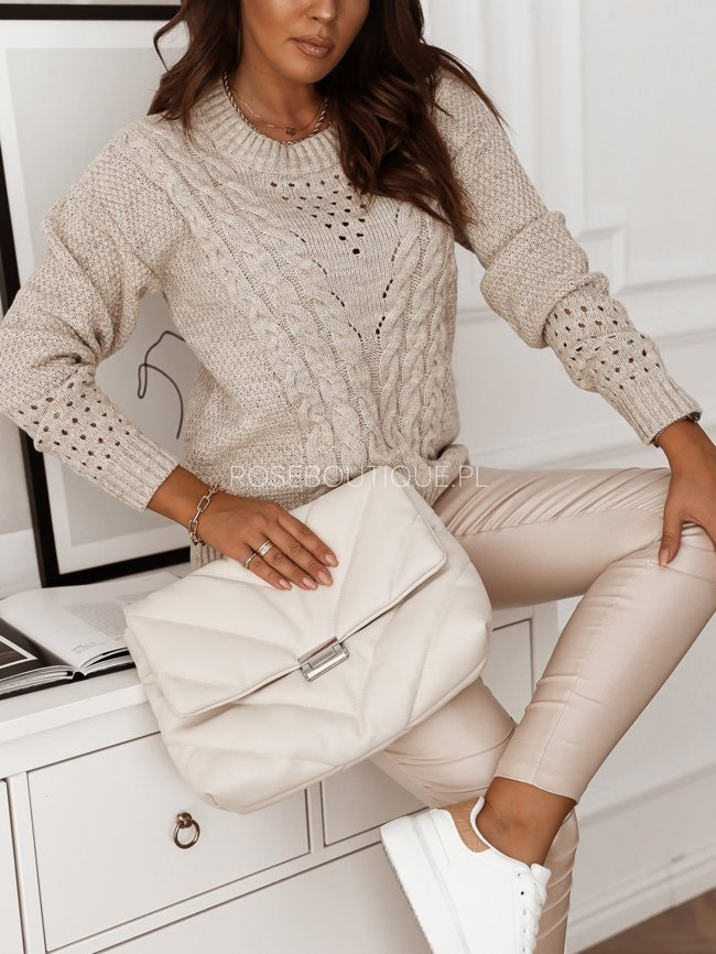 Wool sweater with decorative braids - Light beige
